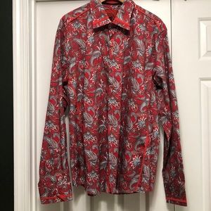 Platini Jeans Cougar Red Paisley Shirt Size XXXL